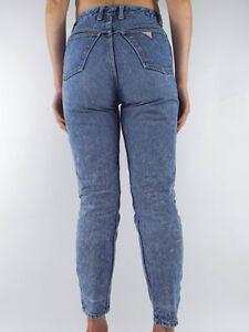 FREE Guess Denim Jeans High Waist Tapered Zipper Ankles