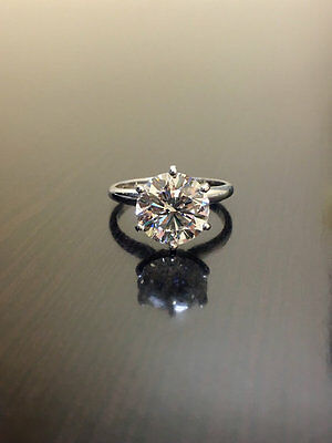 Fiery 4 Carat Lovely Off White Moissanite Engagement Ring 925 Sterling Silver 1