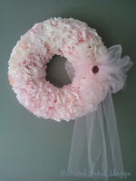 Custom Order Handcrafted Baby Pink Coffee Filter Wreath