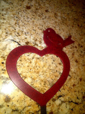 Heart and Bird Garden Stake, Garden Decor, Potted Plant Decor, Valentine's Day