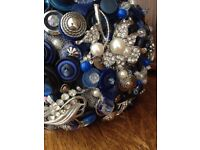 Blue button bouquet made of vintage buttons and brooches
