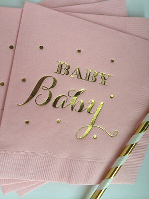 Baby Girl Shower Napkins Pink With Metallic Gold Foil Ships Immediately Blush