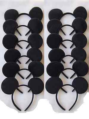 12 PC LOT MICKEY MOUSE EAR HEADBANDS SOLID BLACK PLUSH PARTY FAVORS COSTUME - Plush Party