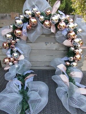 9' Christmas Ornament Garland Silver Ball Garland Rose Gold Mantel Door - Christmas Mantel Decorations