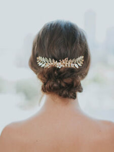 Gold leaf hair comb / bridal vine headpiece / wedding hair piece