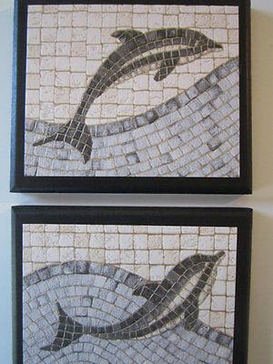 Dolphin Bathroom Wall Decor beach or ocean style bath signs blue mosaic pictures ()