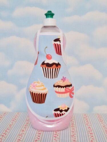 Cupcake Blue Cherry  Kitchen Decor Dish Soap Lotion Bottle Apron fits 25 oz