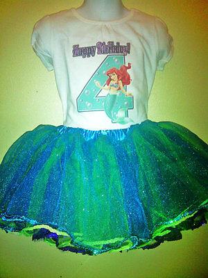 The Little Mermaid Dress 2 Pc Ariel Tutu Birthday set 1T,2T,3T,4T,5,6,7,8 ,9 Y - The Little Mermaid Tutu