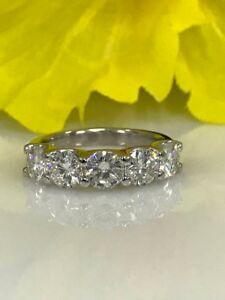 Moissanite 5 Stone 2.50 ctw Wedding Anniversary Band Ring 14k White Gold Finish