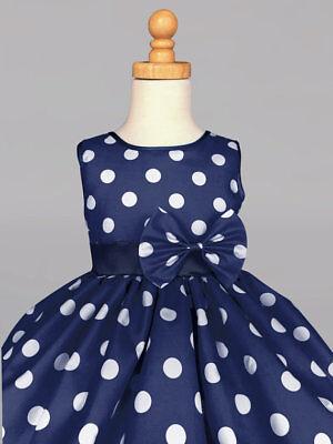 - Christmas Polka Dot Summer Holiday Wedding Flower Girl Dress Navy 2 4 6 8 10 12