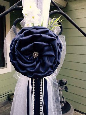 Navy Blue Pew Bows Chair Bows White Wedding Church Aisle decorations Arch (Aisle Decorations)