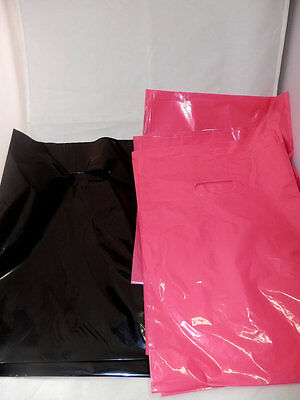 100 9 X 12 Hot Pink And Black Low-density Plastic Merchandise Bags