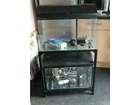 2 x FISH TANK AQUARIUM WITH LIGHTS, ON METAL STAND WITH ACCESSORIES
