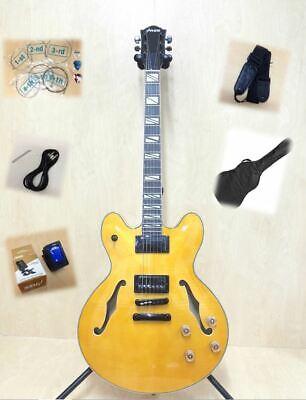 Haze Semi-Hollow Electric Guitar,Gloss Flame Yellow +Free Bag,3 Picks SEG-272N