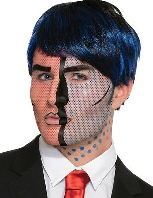 Comic Book Makeup Halloween Costume (Pop Art  Comic Book Style Adult Costume Facial Tattoos Accessory)