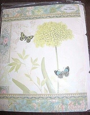 6 Butterfly Flower File Folders Desk Green Blue Tan Pink 3 Tabs Decorated Set