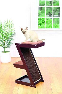 Wooden Cat Scratcher & Perch – Climber Sisal Scratching Post w/ Brown Cushion