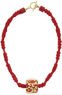 ZSISKA BAROQUE SINGLE BEAD PENDANT ON SATIN CORD.RED/GOLD. Cherry Satin Gold Pendant