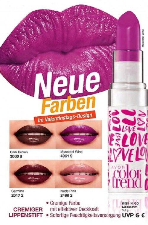 AVON Colortrend Kiss`N`Go Lippenstift mit effektiver Deckkraft zur Wahl NEU