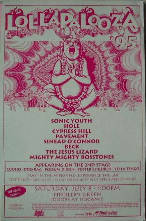 BECK SONIC YOUTH CYPRESS HILL 1995 LOLLAPALOOZA CONCERT POSTER ORIGINAL