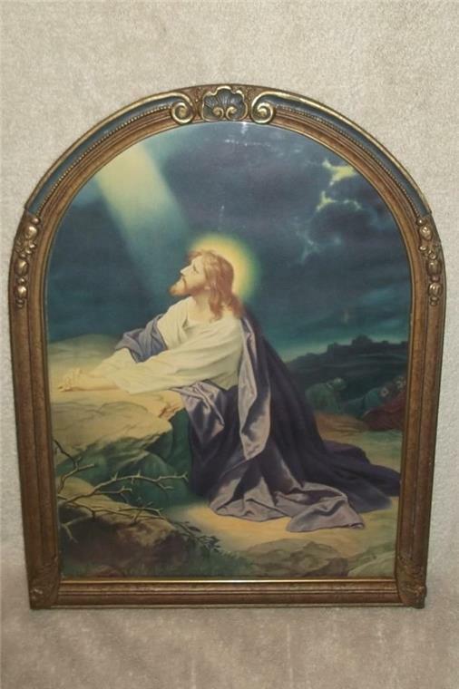 VINTAGE ORNATE FRAMED w GLASS RELIGIOUS PRINT JESUS PRAYING GARDEN OF GETHSEMANE