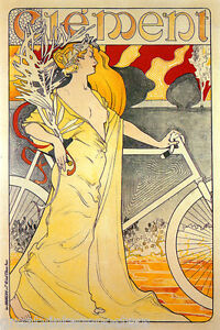 FASHION-LADY-RIDING-CLEMENT-BICYCLE-BIKE-CYCLES-FRENCH-FINE-VINTAGE-POSTER-REPRO