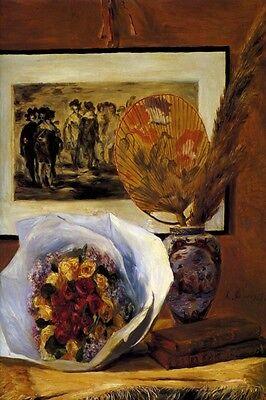 Pierre Auguste Renoir Still Life (STILL LIFE WITH BOUQUETE FLOWERS VASE BOOKS 1871 BY PIERRE AUGUSTE RENOIR REPRO)