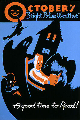 OCTOBER HALLOWEEN GOOD TIME TO READ BOOK WITCH BAT VINTAGE POSTER REPRO 16
