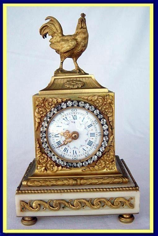 Antique French Clock Gilt Bronze w Cockerel Jewels 19C (4553)