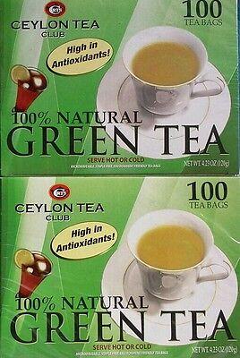 (2 BOXES) Ceylon Tea Belabor Pure Green Tea  Bags 100 Staple-Free Bags per Box