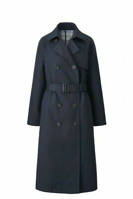 JW Anderson x Uniqlo Navy Plaid Reversible Trench Coat Size S NEW