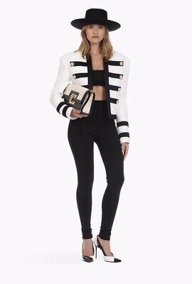 Balmain white black military jacket blazer top 38 S