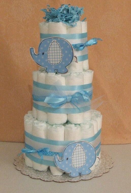 3 Tier Diaper Cake Umbrellaphant Blue Peanut Elephant Baby Shower Centerpiece