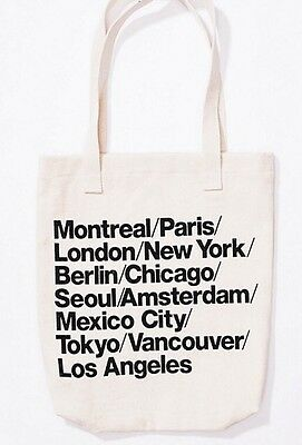 American Apparel Cities City Print Tote Bag Denim Cream Khaki Black Lettering