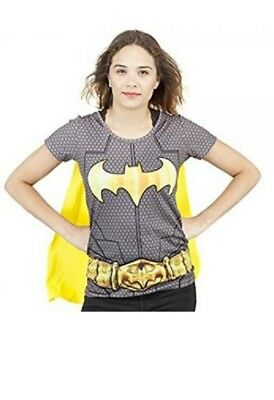 DC BATMAN Sublimated Costume JUNIORS GIRLS T-Shirt with Removable Cape S-XL