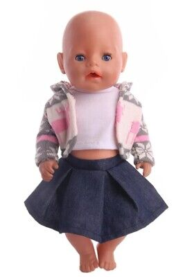Puppenkleidung, Outfit, Strickjacke, rosa, Rock, 43 cm, zb. - Rosa Rock Outfit