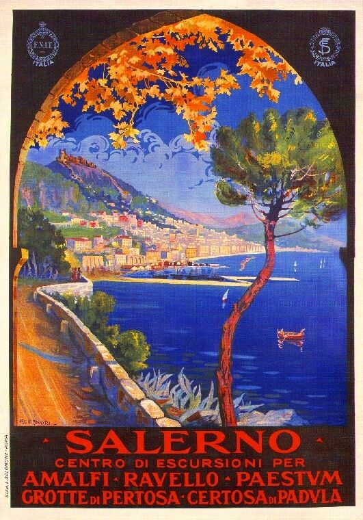 Salerno Italy Vintage Europe  Art Travel Advertisement Poster Picture Print