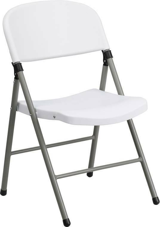 Lot Of 20 Hercules Series 330 Lb. Capacity White Plastic Folding Chair With Gray
