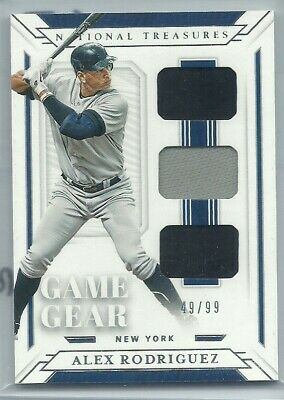 2019 National Treasures Alex Rodriguez #49/99 Game Gear Triple Jersey Yankees