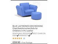 Blue Lazybones Kids Rocking Chair / Seat / Armchair