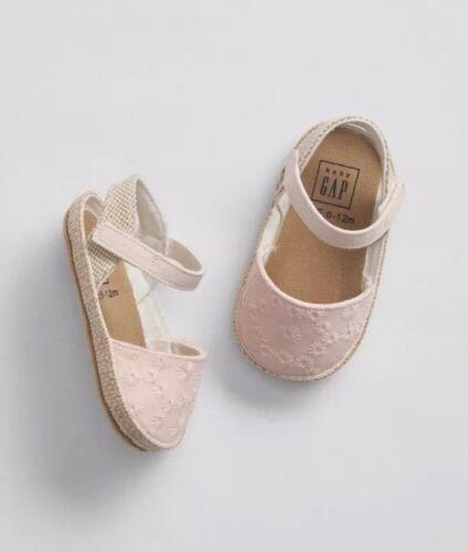 Gap Baby Girl Eyelet Espadrille Sandals / Shoes Light Pink S