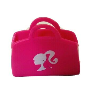 Barbie Size Shopping Bag Handbag Purse Pink can hold items. Barbie logo