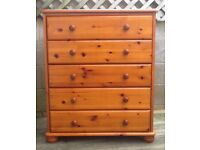 SOLID PINE CHEST OF 5 DRAWERS