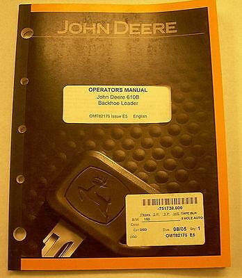 John Deere 610b Backhoe Loader Operators Manual Omt82175 E5