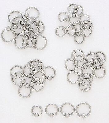 10pcs Steel Captive Bead Rings 10g,12g,14g,16g,18g Wholesale Lot Body Jewelry