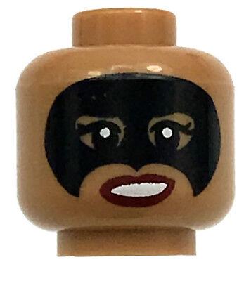 LEGO NEW MEDIUM DARK FLESH MINIFIGURE HEAD FEMALE WITH BLACK MASK SUPER HERO - Female Superheroes With Masks