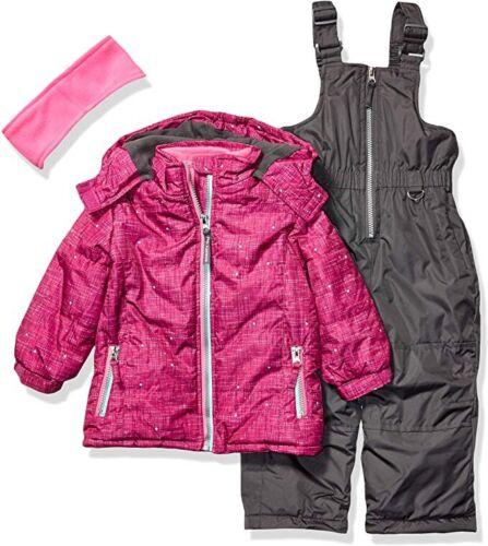 Pink Platinum Girls' Printed Super Snowsuit Snow Jacket & Bi