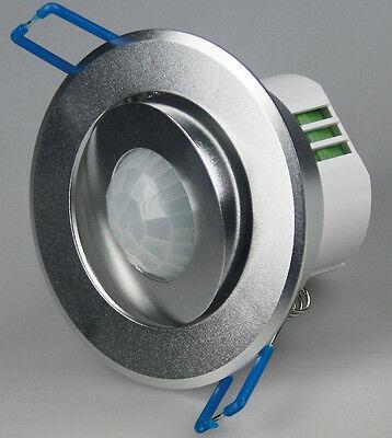 360° Decken-Einbau-Bewegungsmelder EDEL! silber/Aluminium wie Einbaustrahler PIR