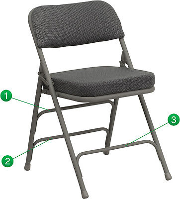 Lot Of 80 Steel Frame Grey Padded Seat Folding Chairs