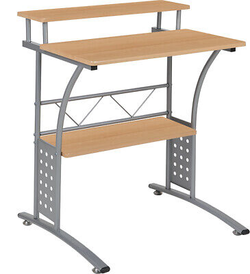 Computer Desk Or Lap Top Desk With Maple Laminated Top And Lower Storage Shelves